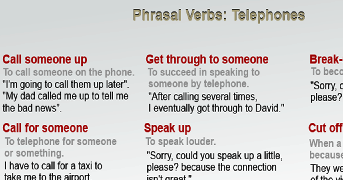 "Phrasal Verbs Related to ""Telephones"" 5"