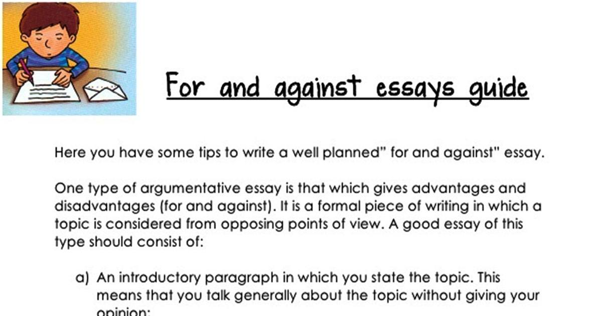 """""""FOR & AGAINST"""" Essays Guide ! 5"""