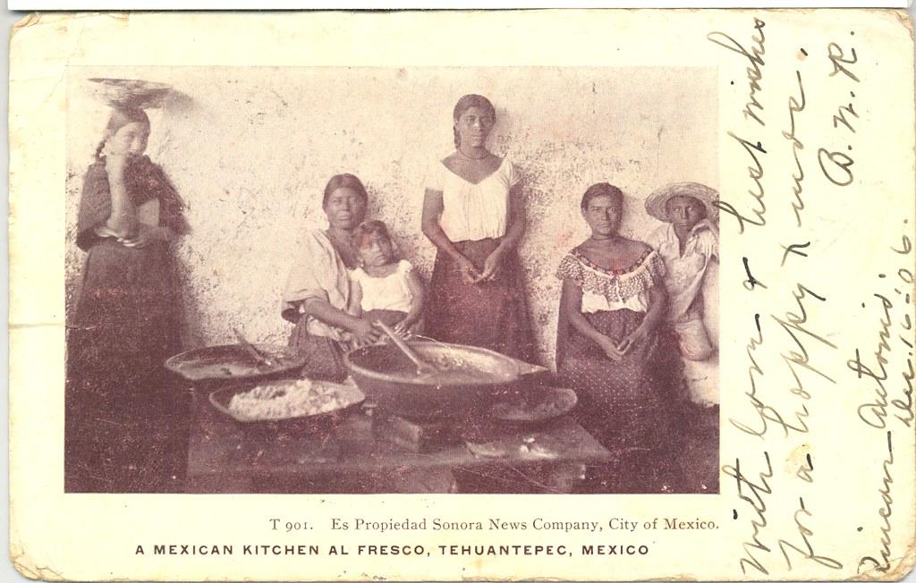 Vintage Mexican Postcard Women Kitchen