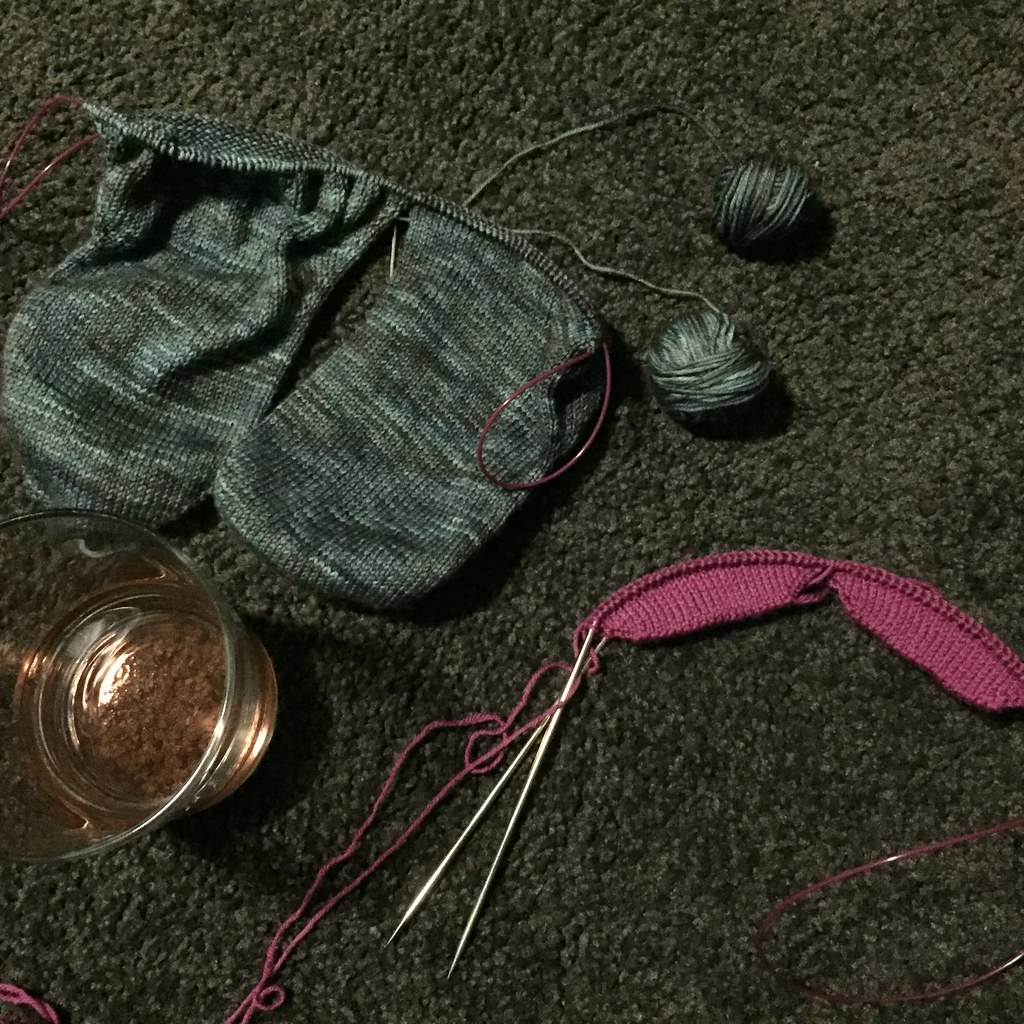 beginning a pair of vanilla socks again after running out of wool. also pictured, wine.
