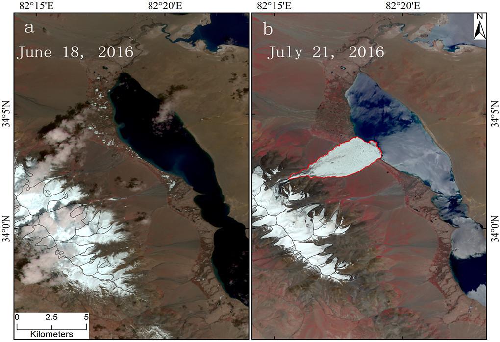 青藏高原腹地的阿汝冰河在2016年7月17日崩塌前後的衛星圖像,左圖為6月18日,右圖為7月21日。圖片提供:青藏高原研究所田立德。