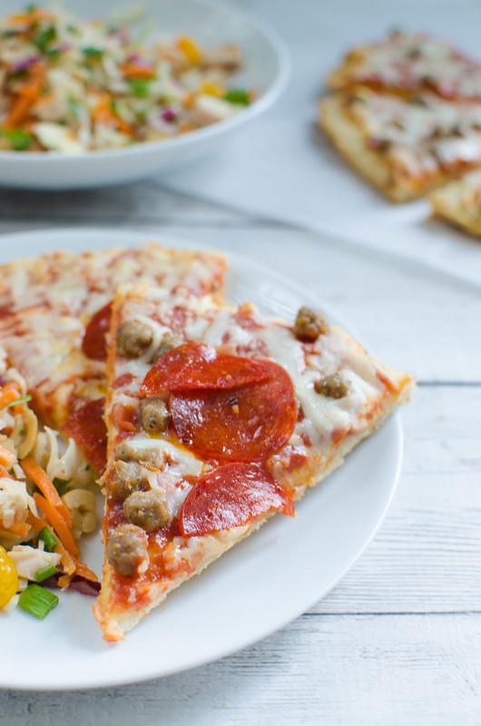 Triple meat pizza!