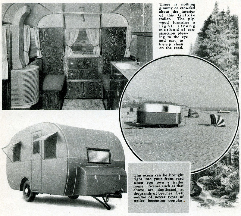 There is nothing gloomy or crowded about the interior of this Gilkie trailer. The ply-wood furnishes a light, strong method of construction, pleasing to the eye and easy to keep clean on the road. || The ocean can be brought right into your front yard when you own a trailer home. Scenes such as that above are duplicated at thousands of beaches. Left —One of newer types of trailer becoming popular.