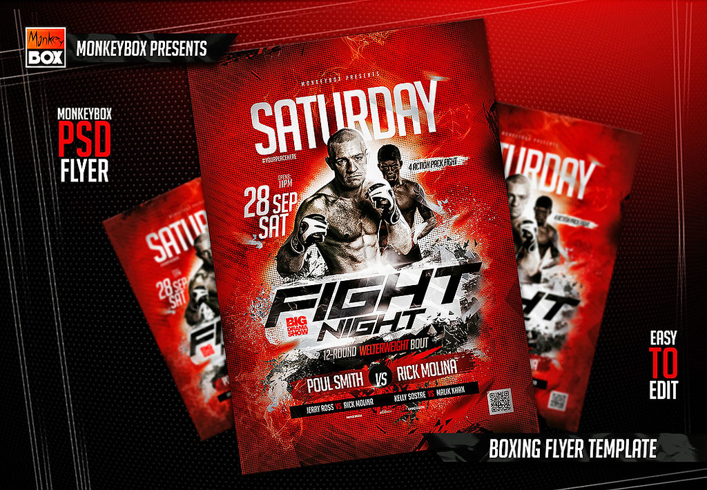 Boxing Flyer Template | DOWNLOAD PSD HERE: goo.gl/u4xFHK | Flickr