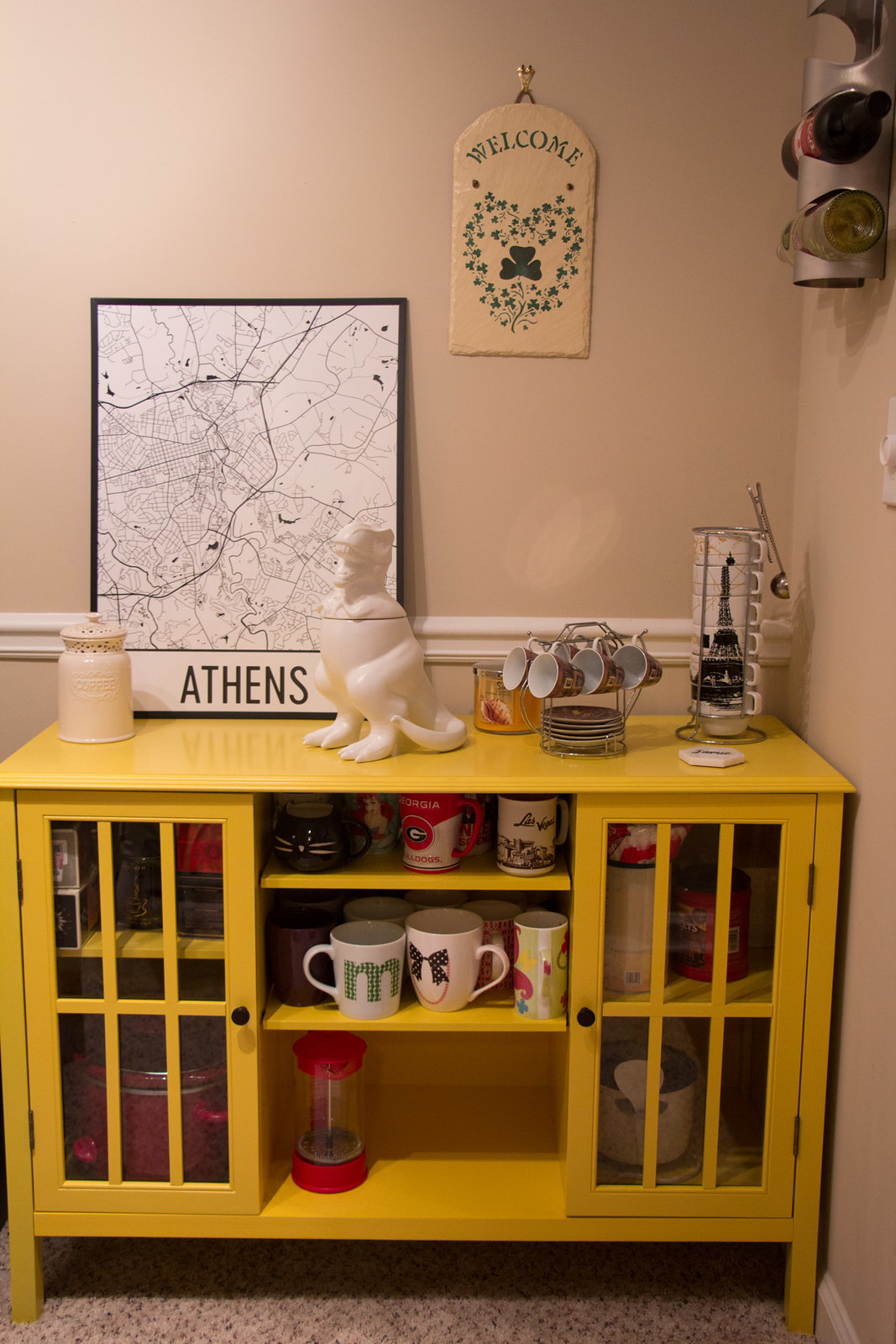 Athens Georgia Modern Map Art Print on a Yellow Coffee Cabinet