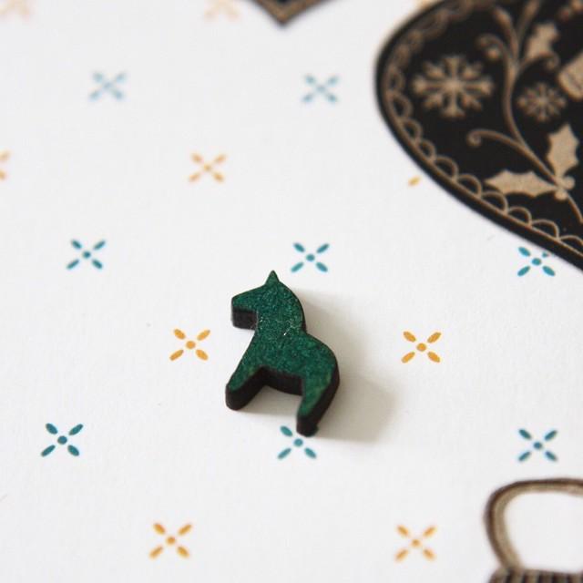 StickerKitten Christmas 2017 range - Dala Horse wooden embellishments - inked mini Dala horse