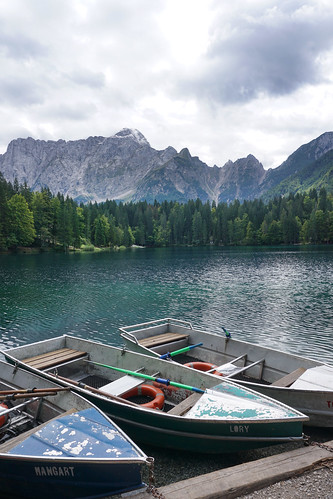 boats at Lago di Fusine