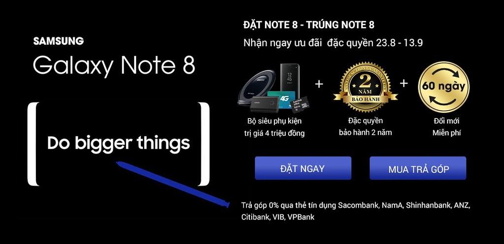 Ưu đãi đặt trước Samsung Galaxy Note 8 tại CellphoneS.com.vn