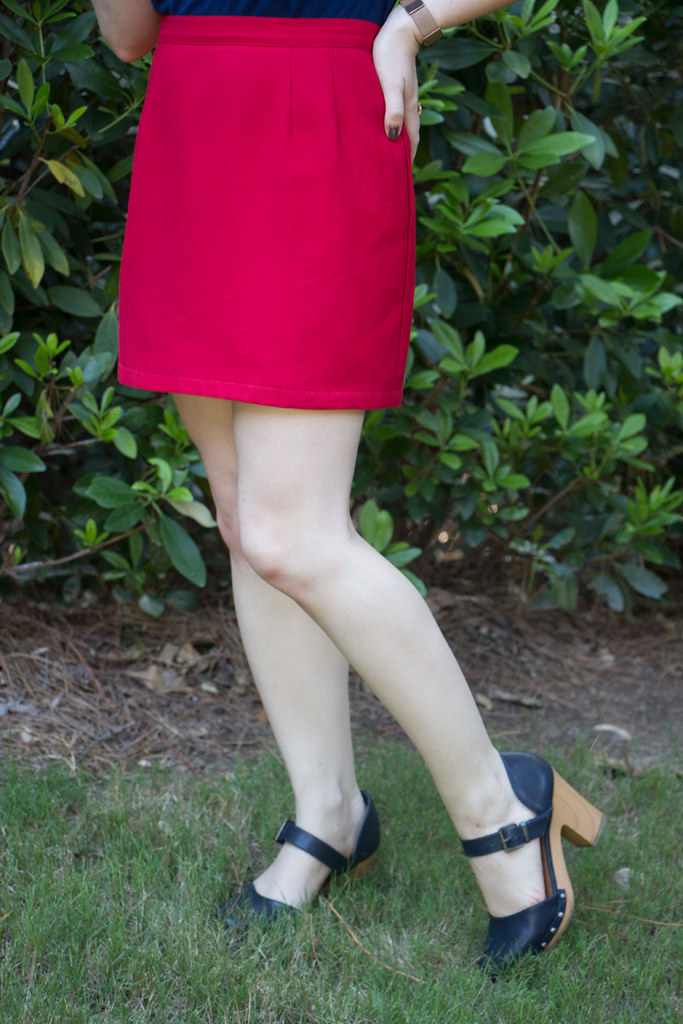 Red Thrifted Mini Skirt with Navy Blue Clogs