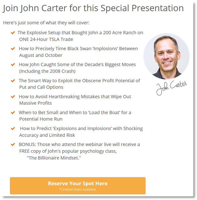 John Carter 10x Trade Formula Webinar Registration