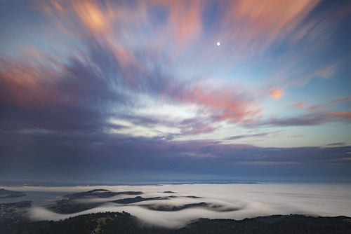 fog and moon from mount tam | by pixelmama