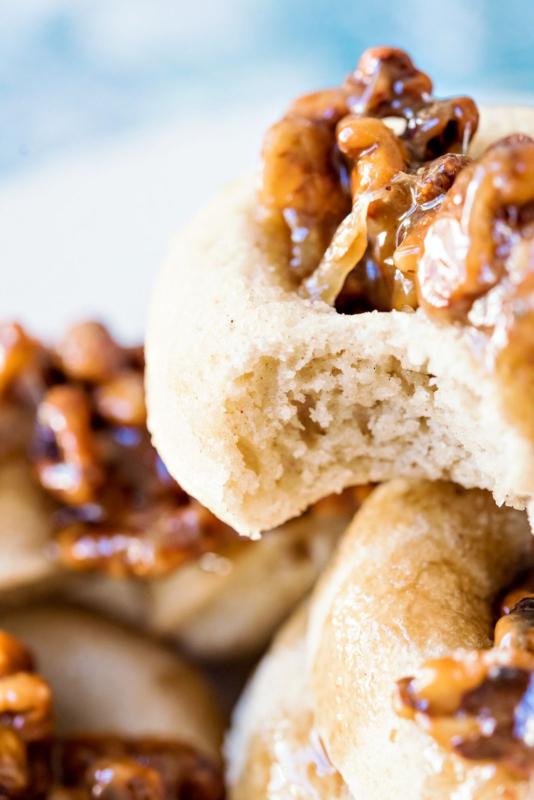 baked pumpkin pie spice donuts with candied walnuts