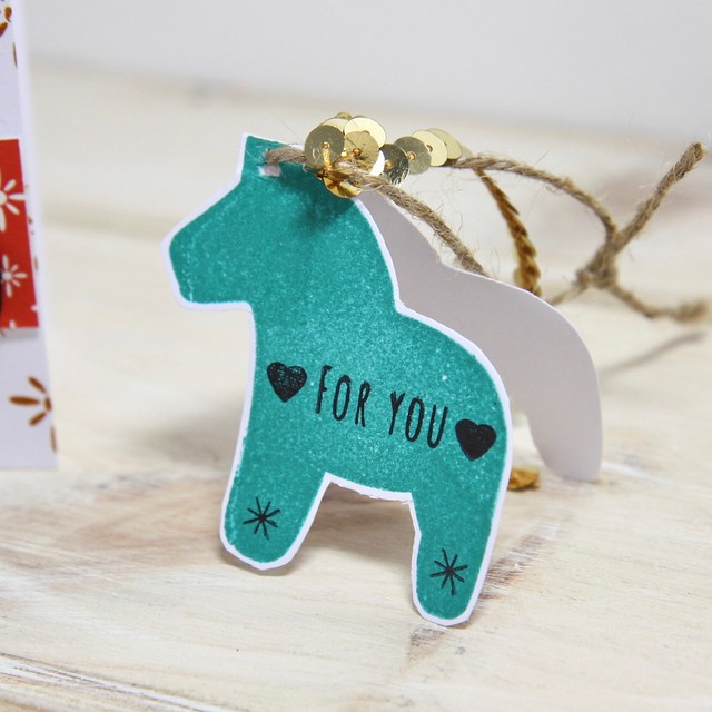 Dala Horse Hochanda Launch - StickerKitten demo - stamped gift tag with sequin trim