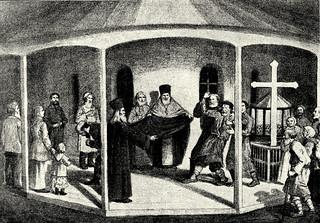 Покрытие мантией Затворника после служения панихиды на его могиле. Рисунок из дореволюционного издания Жития Затворника
