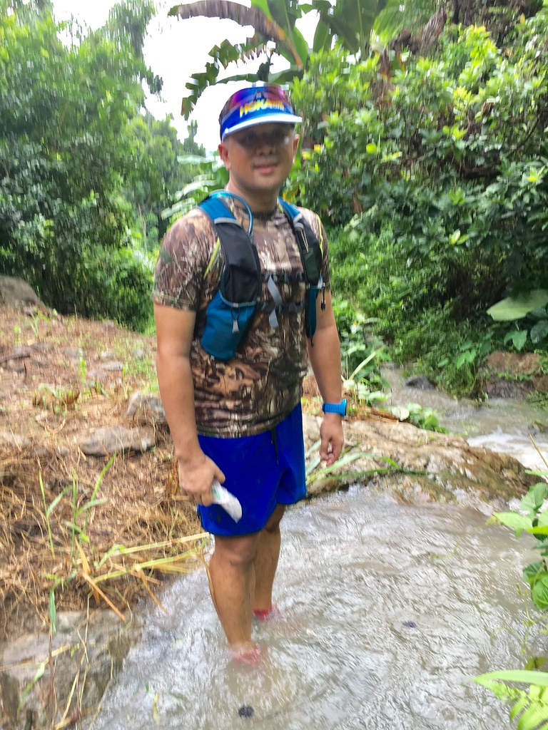 Wet trails is never a problem with Hoka One One Speedgoat and Drymax Socks.