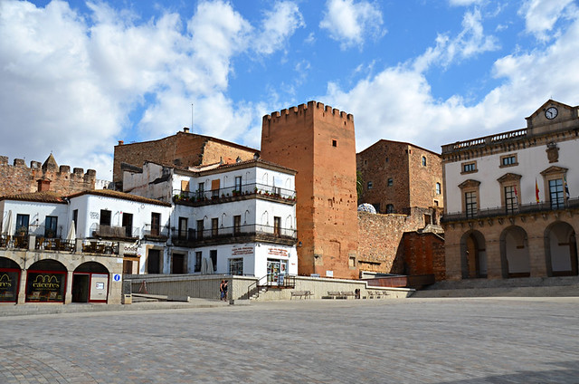 An architectural mix, Plaza Mayor, Caceres, Extramadura
