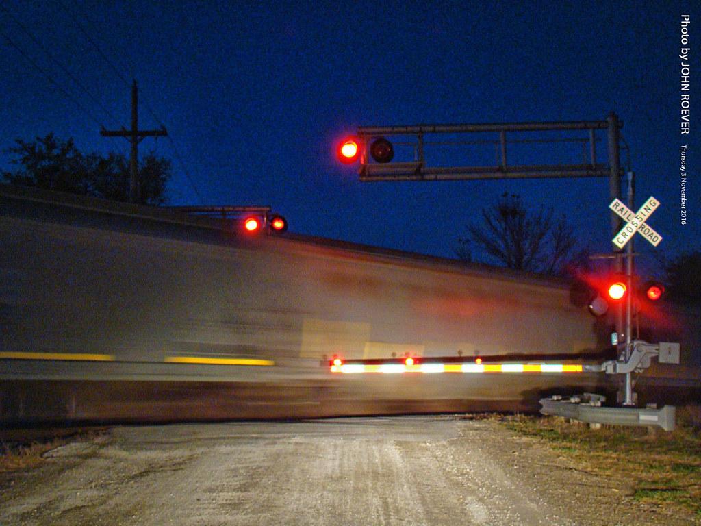 Rail crossing at night, 3 Nov 2016   Waiting at a railroad c