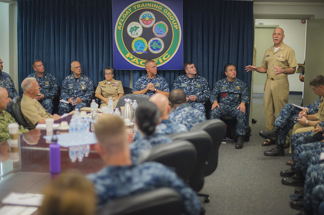 SAN DIEGO - Adm. Scott Swift, commander of U.S. Pacific Fleet, speaks with the staff at Afloat Training Group Pacific (ATGPAC) on Naval Base San Diego during and all-hands call.