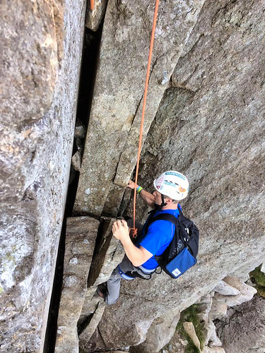 Me at the crux on Shark Buttress