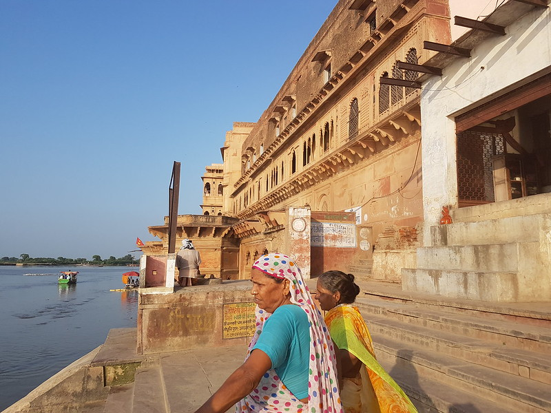 Women visit Kesi Ghat along the Yamuna River