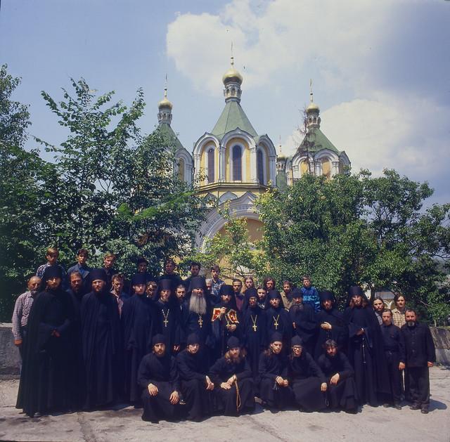 Общее фото братии Святогорского монастыря. 1995г.