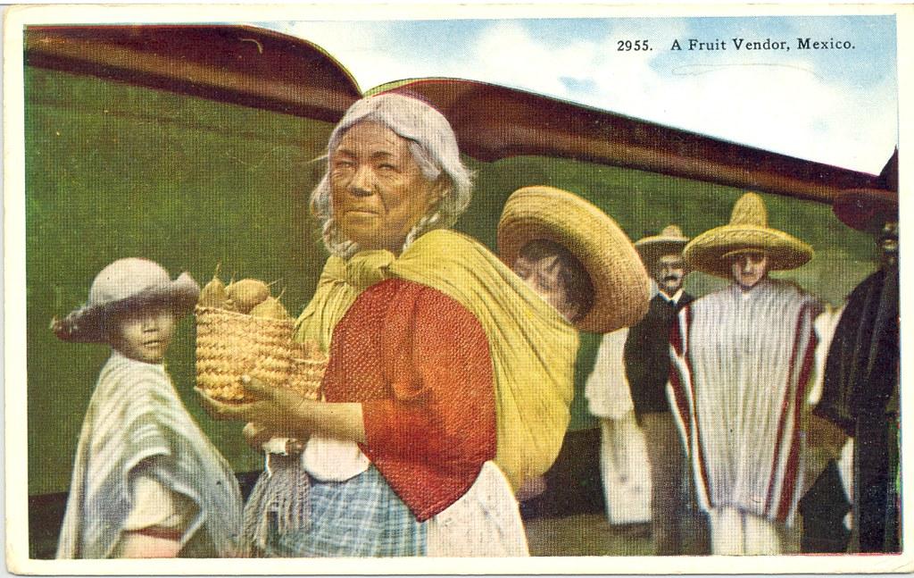 Fruit Vendor Vintage Mexican Postcard