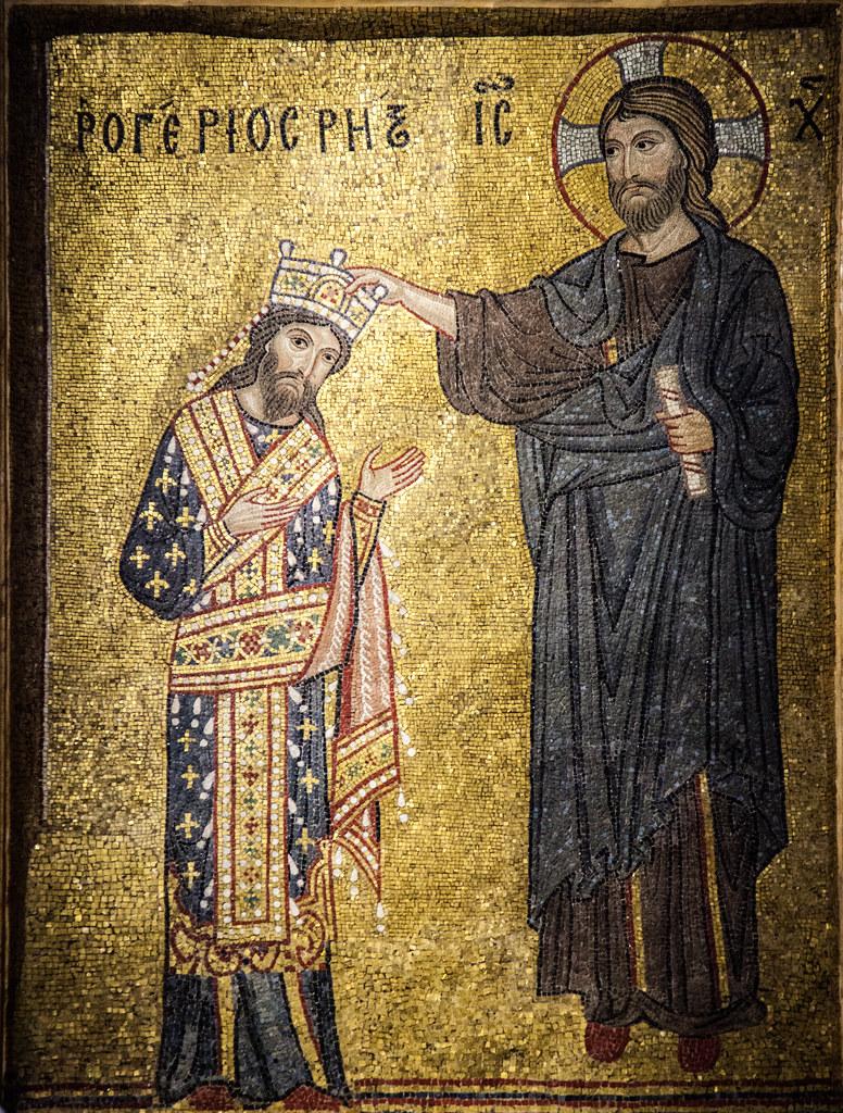 King Roger Ii Being Crowned By Jesus Mosaic In La Martor