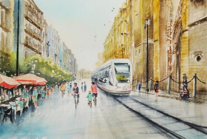 Acuarela de la Avenida de la Constitución (Sevilla)   © Evaristo Hurtado.