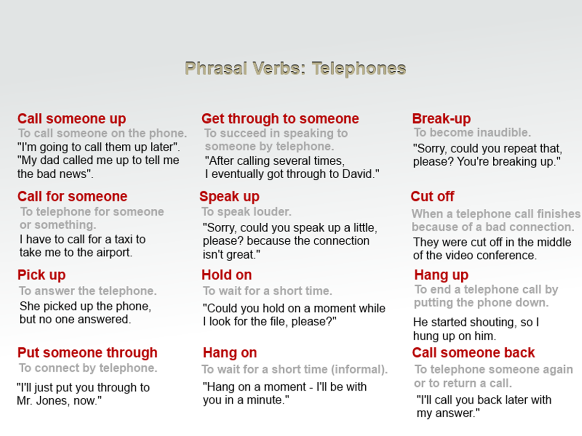 "Phrasal Verbs Related to ""Telephones"" 3"
