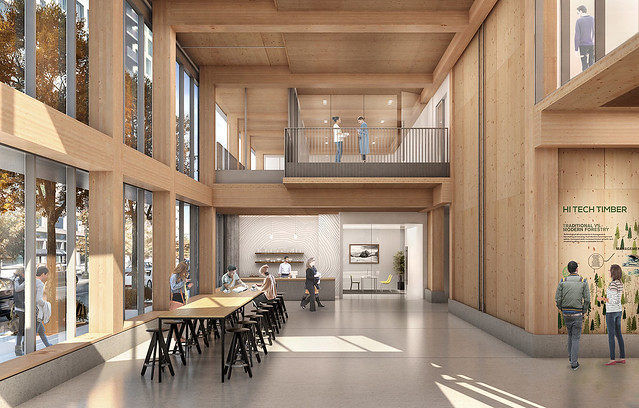 "An artist's rendering shows the interior of ""Framework,"" a Portland, Oregon, construction project."