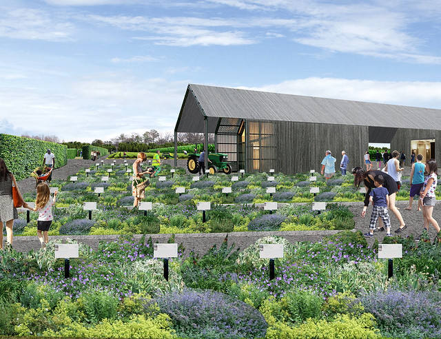 An artist rendering of the proposed teaching garden shows people walking among plants with a building in the background.