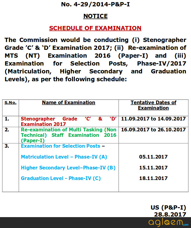 SSC Multi Tasking Staff Re-Exam Dates Announced; Hall Ticket to Release Soon