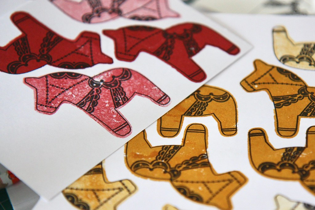StickerKitten Dala Horse stamp set - stamped decorative Dala horse yellow and red