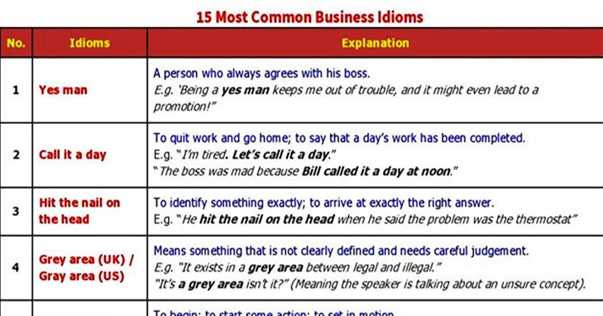 Fifteen Most Common Business Idioms 5