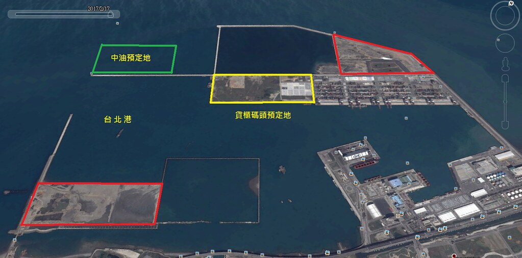 綠色框為台北港預定地,但周邊各色框已有現成的土地閒置(繪圖:戴兆華)