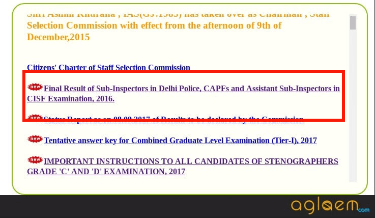 SSC CPO 2016 Final Result Announced; 4781 Candidates Qualified