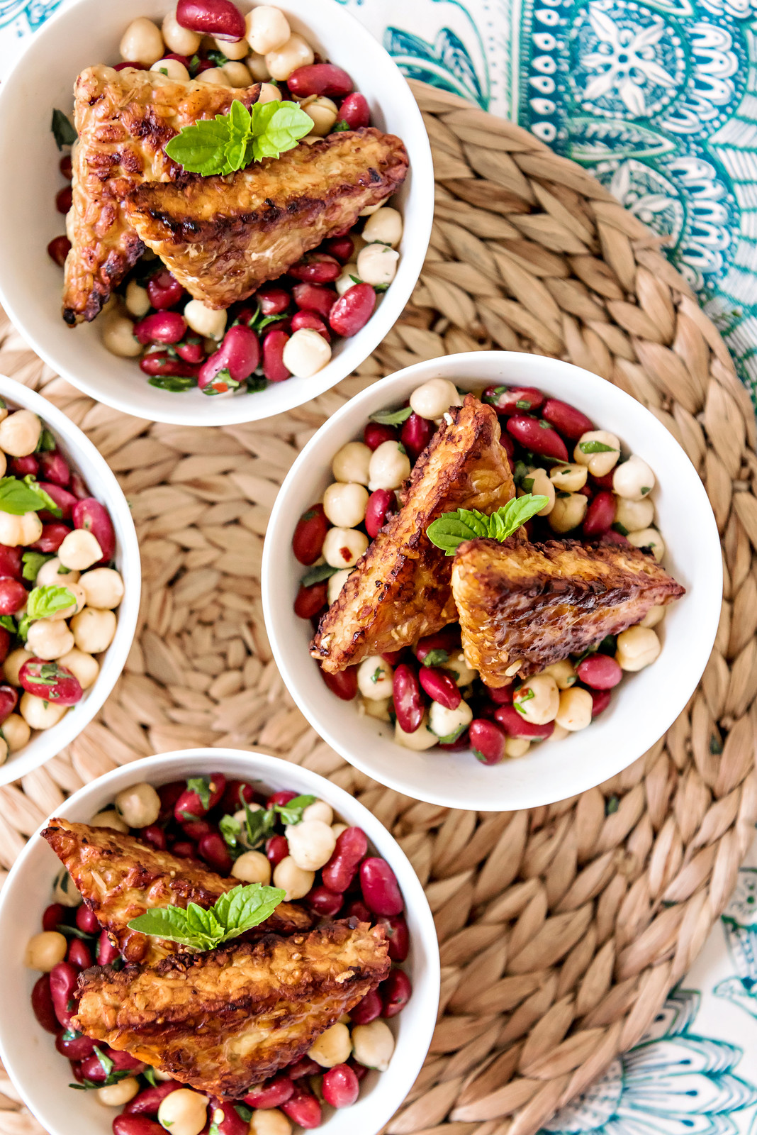 kidney bean and chickpea salad w tempeh