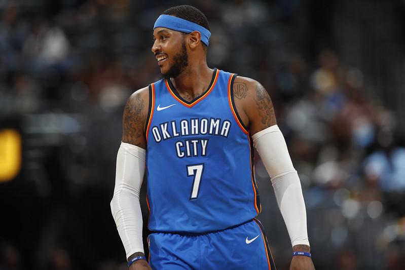 雷霆正試圖將Carmelo Anthony交易出去。(達志影像資料照)