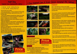 Elephant Care & Grand Canyon Jumping Chiang Mai Thailand Brochure 2