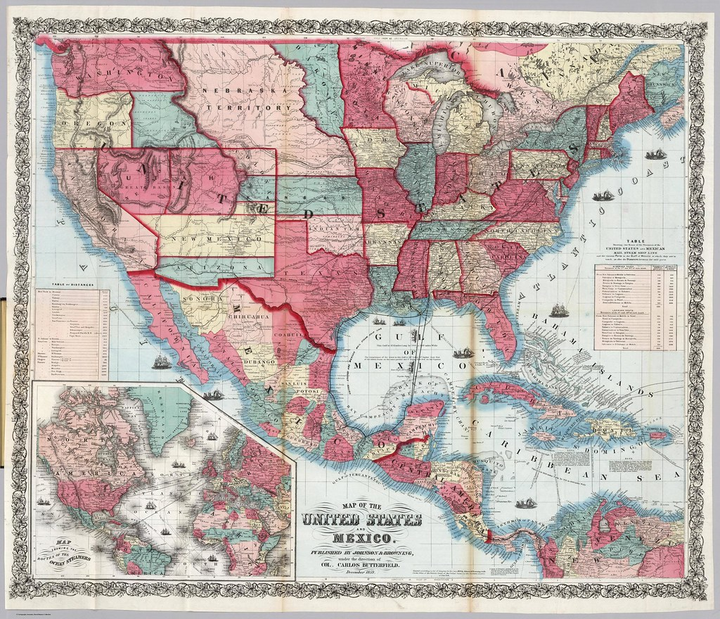 Map of the United States and Mexico (1859)