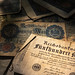 German Mark Bills in Pile Vintage Currency Germany Country History Dramatic Shadows