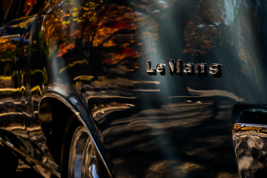 1967 Pontiac Le Mans, reflecting fall leaves