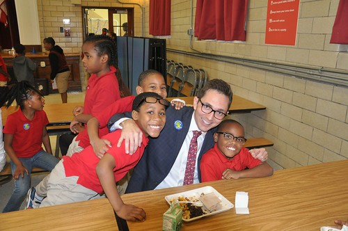 Acting Deputy Under Secretary for Food, Nutrition and Consumer Services Brandon Lipps joining students for a healthy school meal