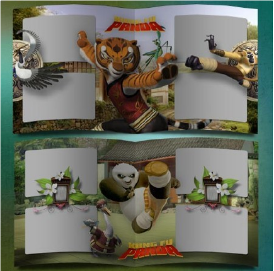Template Photoshop photobook for kids – the dragon warrior, Panda
