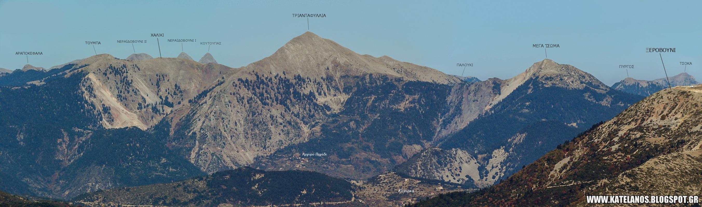 τριανταφυλλια βουνο παναιτωλικου ορους κορυφες