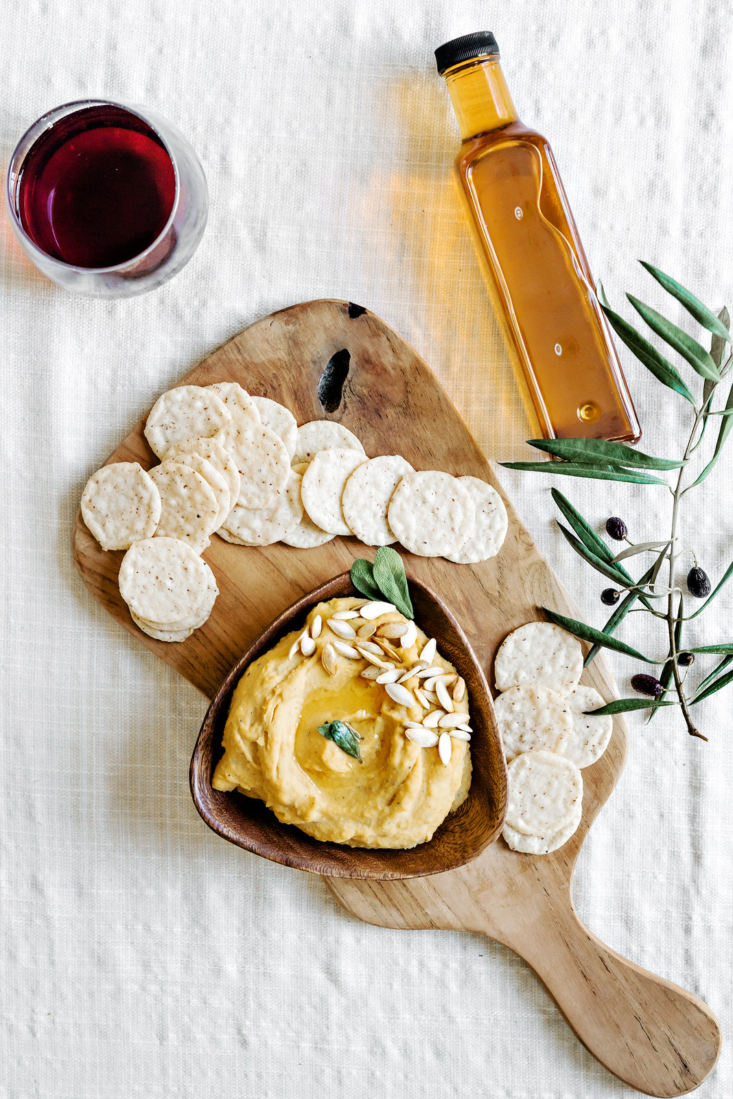 Butternut Squash and Sage Hummus with chili oil