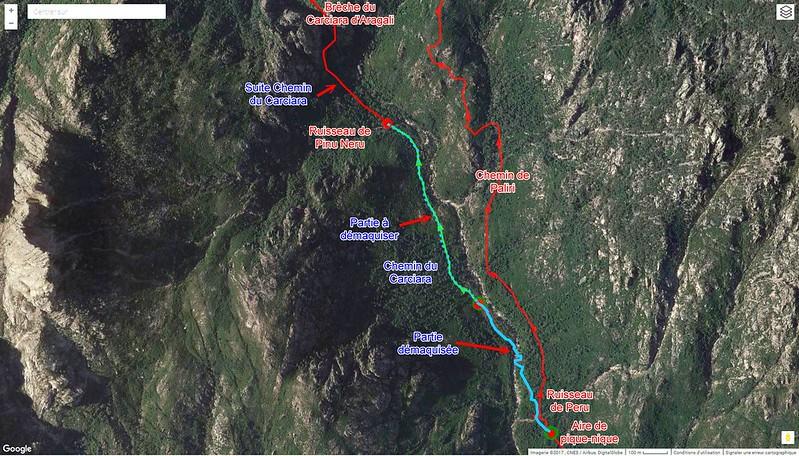 Photo aérienne de la Figa Bona et du Carciara avec les chemins de Paliri et du Carciara en cours de restauration