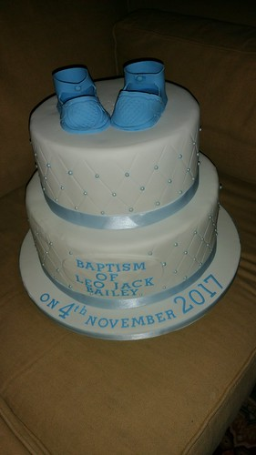 Blue 2 tiered Christening cake with Baby Booties | by platypus1974
