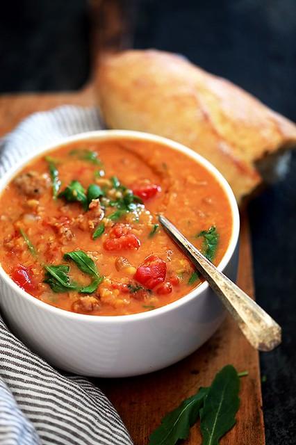 Crockpot Sausage and Lentil Soup