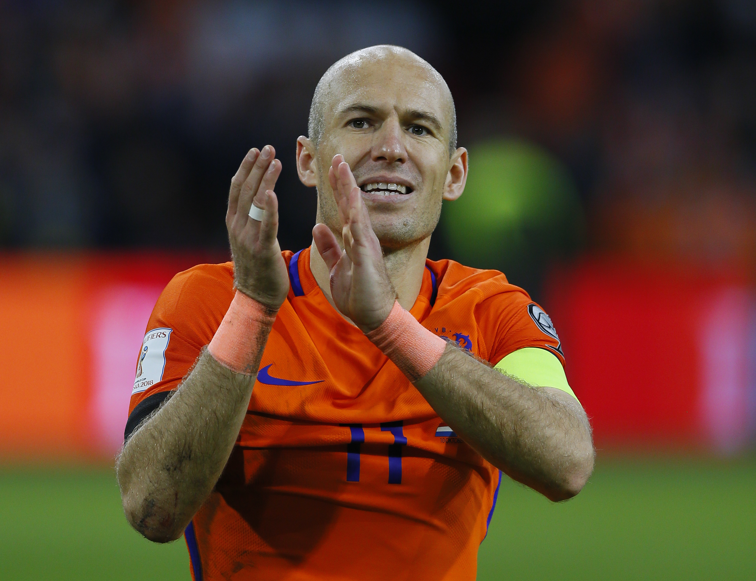 Arjen Robben在國家隊生涯最後一役攻進2球,但荷蘭還是無緣闖進世界盃會內賽。(達志影像)
